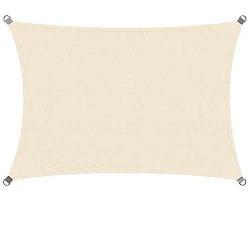 dDanke, tenda parasole rettangolare per patio e giardino, disponibile nelle dimensioni di 3 x 2 m e 4 x 3 m, di colore beige