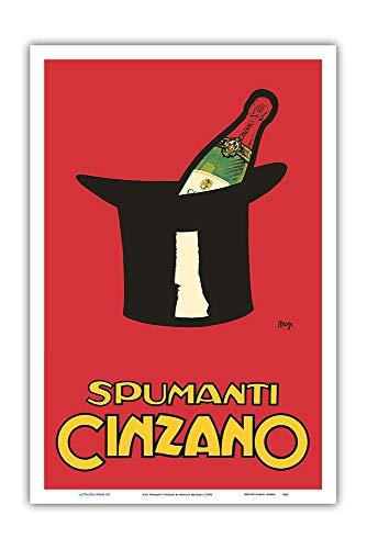 Pacifica Island Art Asti Cinzano Spumanti-Vino Spumante Italiano-Vintage Advertising Poster di c.1950s Achille Mauzan-Master Stampa Artistica -12in x 18in