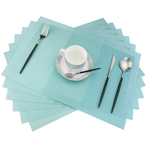 pigchcy Placemats,Non-Slip Plastic Placemats,Easy to Clean Woven Vinyl Placemats for Dining Table,18x12 Inches Washable Table Mats Set of 6 (Turquoise)