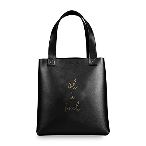 Katie Loxton Ooh La Lunch Womens Vegan Leather Reusable Lunch Bag Sack in Black