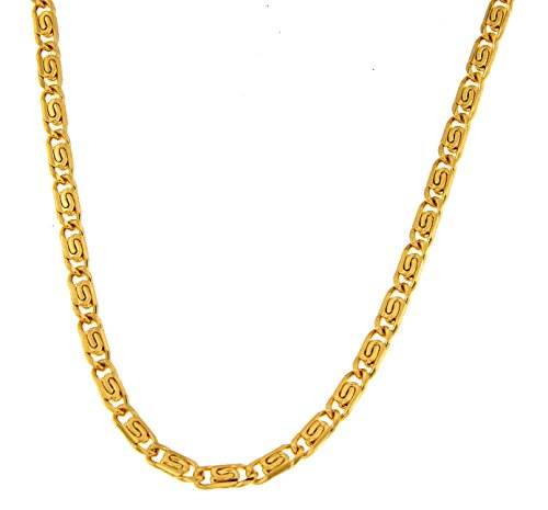 S-Panzerkette vergoldet 4 mm Länge 55 cm Halskette Goldkette Herren-Kette Anhängerkette Damen Geschenk Schmuck ab Fabrik Italien tendenze