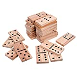 28 Pieces Giant Wooden Dominoes Game Jumbo Natural 5.9 X 2.95 Inches Wood Kids Adults Family Outdoor and Indoor Lawn Yard Games with Bag(Medium)
