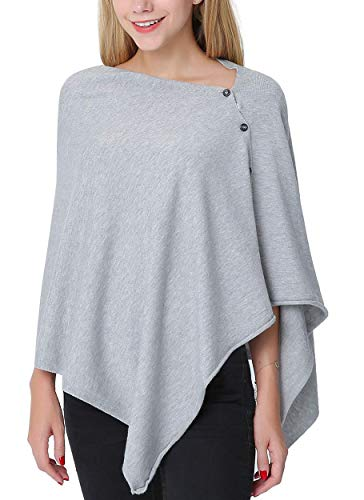 PULI Women Button Knitted Shawl Poncho Blanket Cape Cardigan Wrap Scarf One Size (Gray)