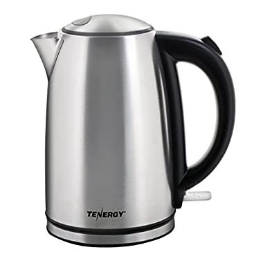 Tenergy Stainless Steel Electric Kettle 1.7L 1500W Fast Boiling Tea Kettle, BPA-Free Cordless Electric Water Kettle with Auto Shut-off, Boil Dry Protection, LED Light Indicator (ETL/FDA Approved)