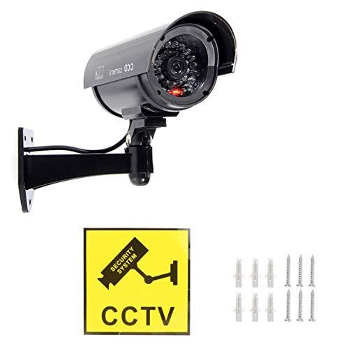 JZK Negro Impermeable Exterior Interior Cámara de Seguridad CCTV Falsa Dummy Cámara de Seguridad con LED Parpadeante para casa Tienda y Oficina