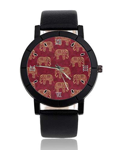 Ethnische Elefanten-Armbanduhr, personalisierbar, leger, schwarzes Lederband, Armbanduhr für Männer und Frauen, Unisex Uhren