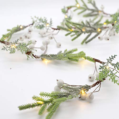 Pine Branches Christmas Led String Light Twined White Berry 7ft 20LEDs Battery Operated Lights with Remote for Christmas Tree Fireplace Festival Garland Bedroom Indoor Outdoor Xmas Decor