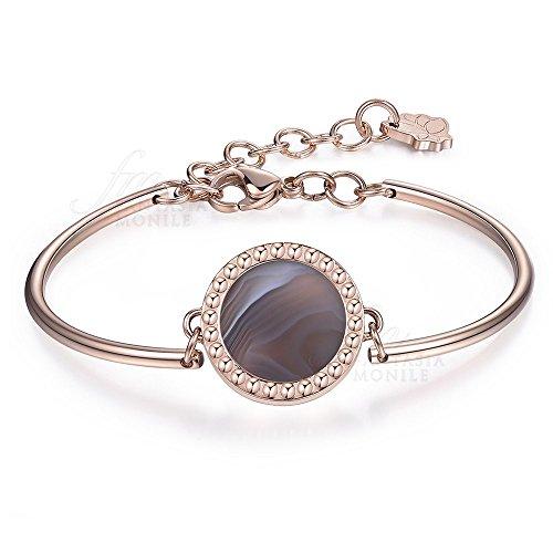 Brosway Chakra armband van agaat gesigneerd Creativity staal roze dames BHK106