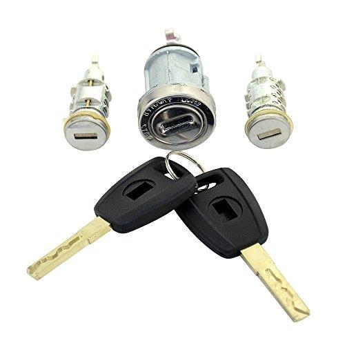 Pro-Plip - Juego de 2 cerraduras para puertas y barriles para Fiat Punto Doblo Panda Palio Bravo.llaves de hoja SIP22