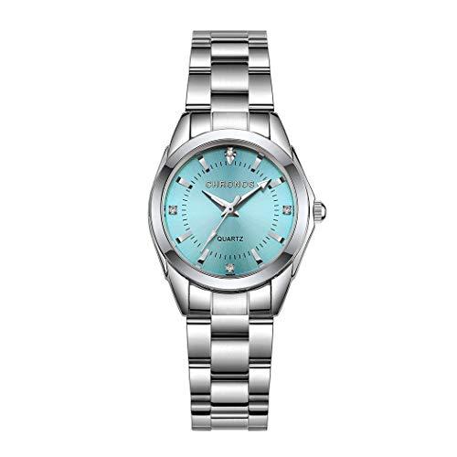 Mujer Relojes, L'ananas Clásico Elegante Diamante de imitación Acero Inoxidable Correa de Reloj Cuarzo Relojes de Pulsera Women Watches Wristwatches (Plata+Verde)