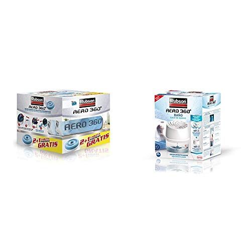 Rubson 2178378 Tabletas de Recambio, Set de 3 Piezas + Aero 360º Baños Deshumidificador Para El Baño, Color Blanco