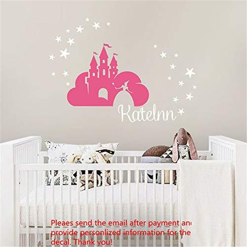 autocollant mural sticker mural Princesse Castle Stars Nom personnalisé pour chambre d'enfant chambre d'enfant