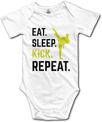 WlQshop Body Bébé Garçon Fille, Eat Sleep Kick Repeat Creeper Jumpsuits Short Sleeve Gentleman Bodysuit