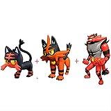 Mipojs 3Pcs Litten Torracat Incineroar Action Figure Giocattoli Collezioni Cartoon Pokemones Anime Figure Giocattoli Regali per Bambini