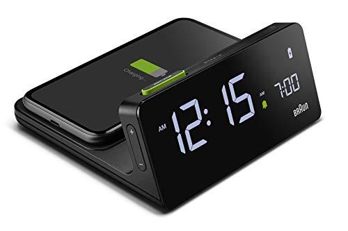 Braun Digitaler Wecker mit VA-LCD-Display, kabelloses 10W Qi-Schnellladepad, automatische Einstellung der Hintergrundbeleuchtung, Schnellschaltung, Pieptonwecker in Schwarz, Modell BC21B.