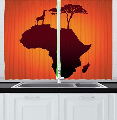 Afrikanische Küchenvorhänge, Safari-Karte mit Kontinent-Giraffe & Baum-Silhouette, Savannen-Wild-Design, Fenstervorhänge, 2-teiliges Set für Küche, Café, Dekoration, 132,1 x 182,9 cm, orangebraun