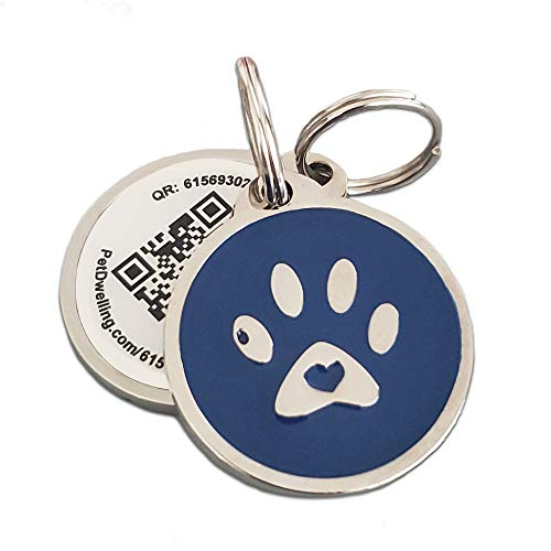 PetDwelling 2D Blue Paw QR Code Pet ID Tag Links to Online Profile/Emergency Contact/Medical Info/Google Map Location Stamp