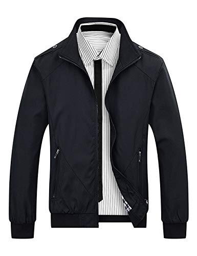 Locachy Men's Casual Long Sleeve Lightweight Full Zip Jacket With Shoulder Straps(Black,Medium)
