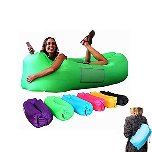STKASE® Luftsofa Luftsack, Aufblasbarer Wasserdichter Air Lounger, Aufblasbare Liege, Aufblasbarer Sitzsack, aufblasbares Sofa Mit Tragebeutel, Air Lounge mit Integriertem Kissen,Grün