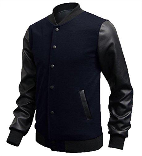 Jaqueta masculina de beisebol WSLCN de couro sintético, manga comprida, Dark Blue, L