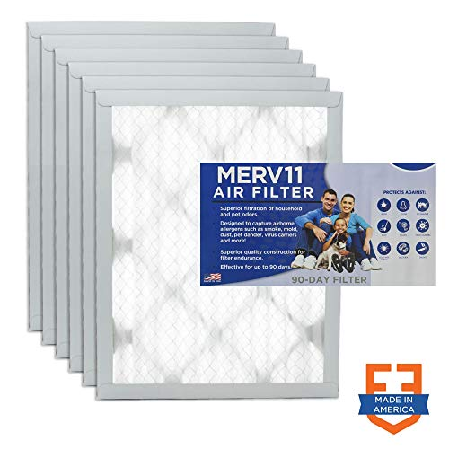 Filters Fast 10x16x1 Pleated Air Filter (6 Pack), Merv 11 | 1' AC Furnace Air Filters, Made in the USA | Actual Size: 9.75'x15.75'x 0.75'