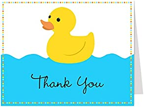Rubber Ducky Thank You Cards Baby Shower Sprinkle Theme Birthday Party Thanks Folding Thank You Notes Boys Blue It's A Boy Yellow (50 count)