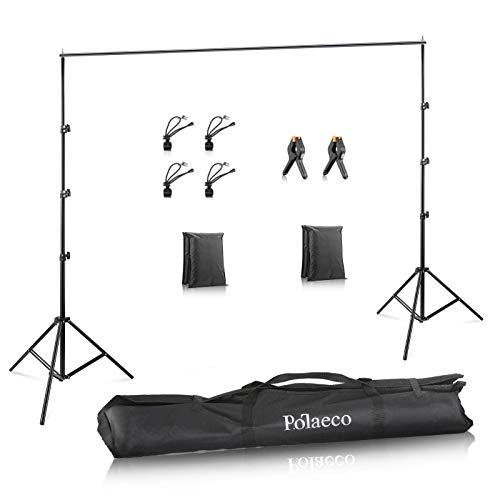 Support de Fond Réglable 2x3m avec 2+4 Pinces pour Toile de Fond, 2 Sacs de Sable et 1 Sac de Transport pour Portrait Photo Studio Vidéo