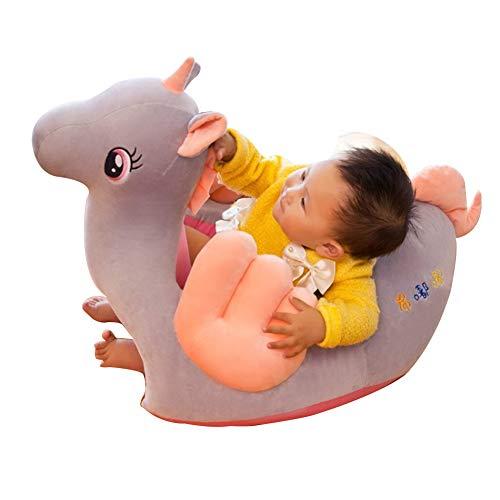 FCFLXJ Asiento de Apoyo para bebés de Peluche, bebé con Forma de Animal Aprendiendo a Sentarse Sillón Mantenga Sentado Postura Cómoda Silla de Sentado Infantil Durante 4 Meses,Gris