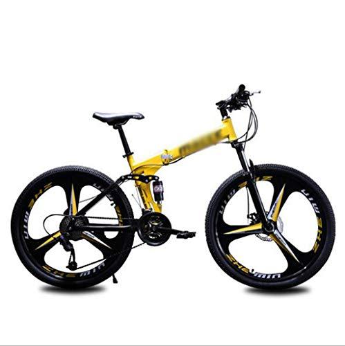 Gaoyanhang Pieghevole Mountain Bike, 26 Pollici Ruota Doppio Disco Freno Assorbimento degli Urti, 21-velocità Adulto Bici Fuoristrada (Color : Yellow, Size : 21S)