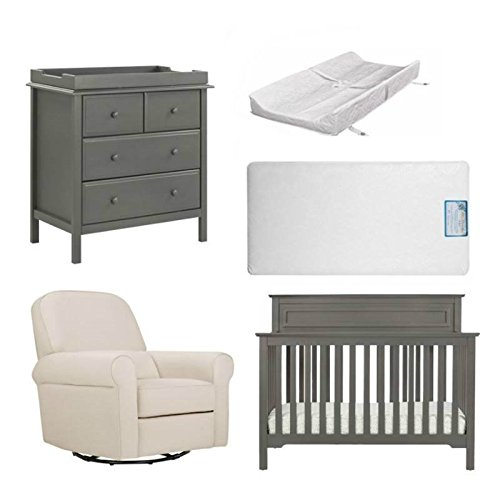 Home Square Million Dollar Baby 5 Piece Nursery Furniture Set with Mattress & Pad in Pink/Gray