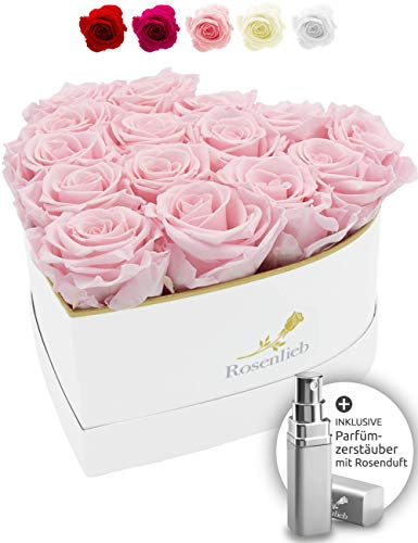 Rosenlieb Herz Rosenbox mit 15 Infinity Rosen (3 Jahre haltbar)|Handgefertigte Flowerbox aus...