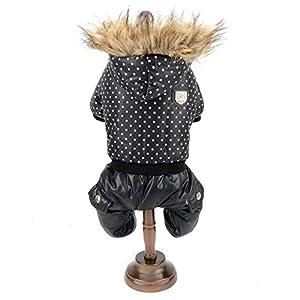 Smalllee Lucky Ranger Chien Polaire Manteau Parka d'hiver imperméable Vintage Pois Combinaison Anorak Chihuahua Vêtements pour Chiens de Petite Taille