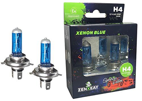 ZENXEAY H4 XENON BLUE Sportscar Edition, Halogen Leuchtmittel, 12V 60 / 55W, Xenon Optik, Super White Birne, 2 Stück