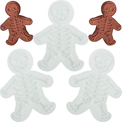 3 Stück Skelett-Plätzchenformen Totenkopf-Plätzchen-Stempel Lebkuchen-Männer Keksform für Halloween Tag der Toten Weihnachten Backzubehör