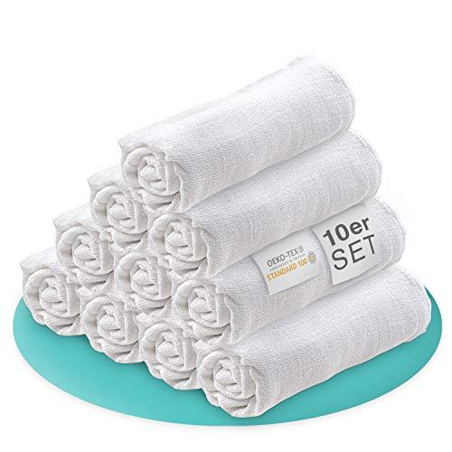 FRANZANI® – Mullwindeln / Spucktücher – [10er Pack] – 80x80 cm – ÖKO-TEX Zertifiziert – Stoffwindeln für Jungen & Mädchen / Mulltücher Babys - 100% Baumwolle