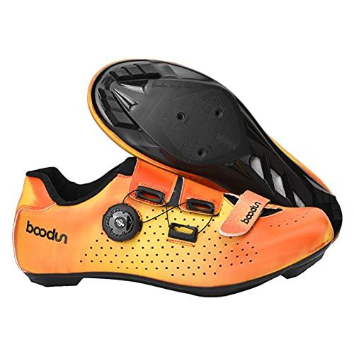 Zapatos De Ciclismo De Carretera para Hombre Transpirable Súper Luz Zapatillas De Deporte Zapatillas De Bicicleta Hebilla Antideslizante Usable,Naranja,44 EU