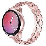 Ownaco - Correa de metal para Samsung Galaxy Watch Active 2 de 40 mm, 20 mm, para Samsung Galaxy Watch Active 2 de 44 mm, color rosa y dorado