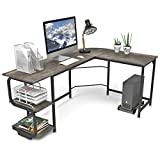Teraves Reversible L Shaped Desk with Shelves Round Corner Computer Desk Gaming Table...