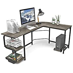 Amazon Com Teraves Reversible L Shaped Desk With Shelves Round Corner Computer Desk Gaming Table Workstation For Home Office Kitchen Dining