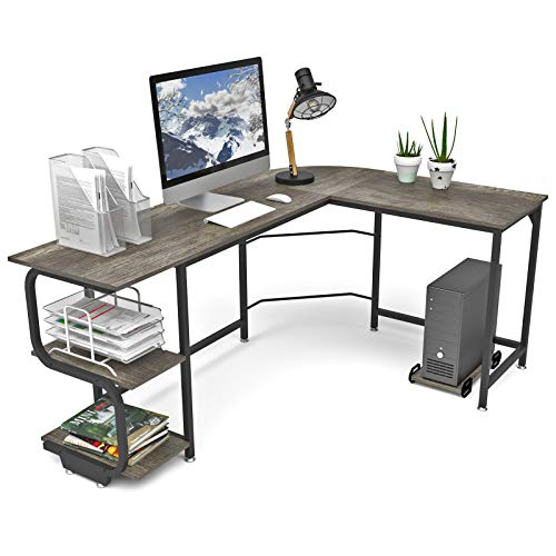 Teraves Reversible L Shaped Desk with Shelves Round Corner Computer Desk