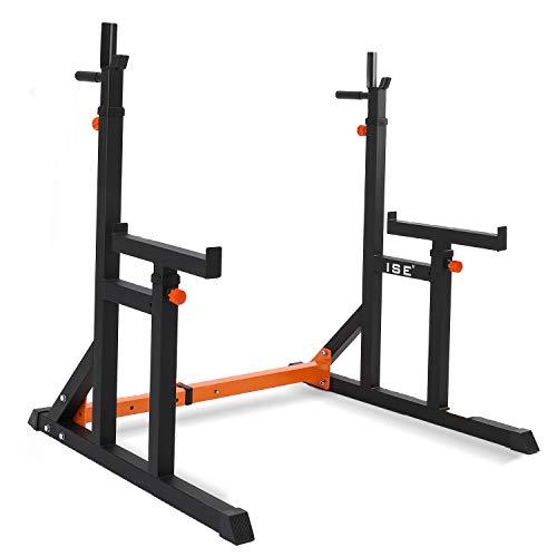 ISE Supports Réglable de Rack Squat Multifonction Barbell, Musculation Cage de Squat avec Barres...