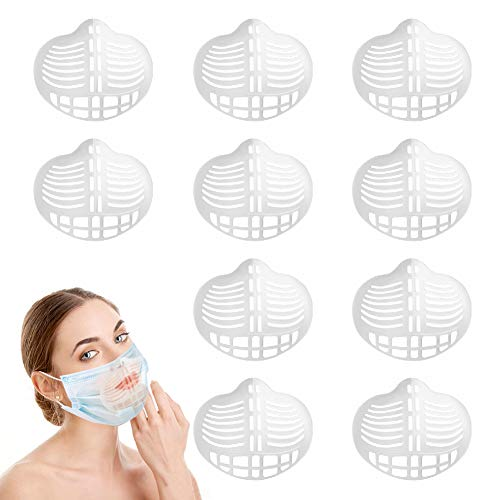 3D Face Mask Bracket Internal Support Frame Lipstick Protective Face Mask Plastic Insert Breathing Mask and Nose Protection for Women, Men and Kids(10 PCS)