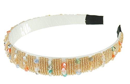 2 cm breed, fonkelende parelhaarband met strass-steentjes. Gold Multi