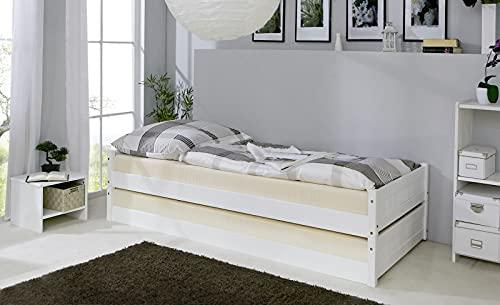 ADHW Gästebett Stapelliege Doppelbett Massivholz Kiefer Weiß 90 x 200 cm