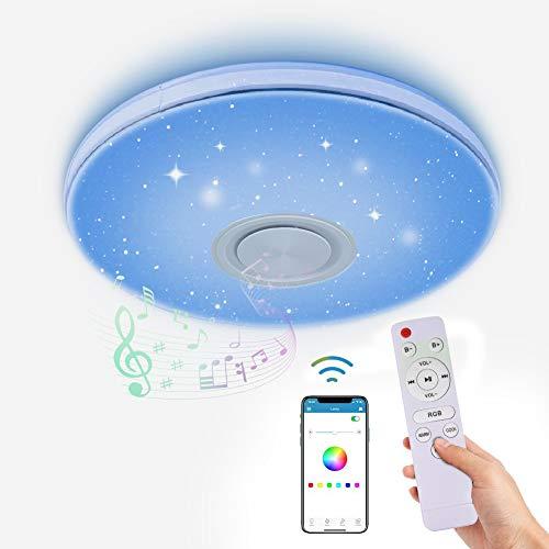 LED Deckenleuchte Dimmbar mit Bluetooth Lautsprecher,LACYIE 24W 3000-6500K RGB Deckenlampe mit Fernbedienung und APP-Steuerung IP44 LED Lampe für Badzimmer Schlafzimmer Kinderzimmer Wohnzimmer