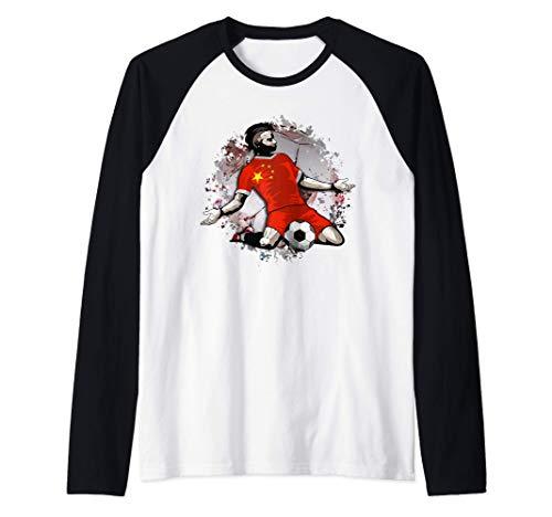 China Fútbol Bandera Nacional de China Amantes del Fútbol Camiseta Manga Raglan