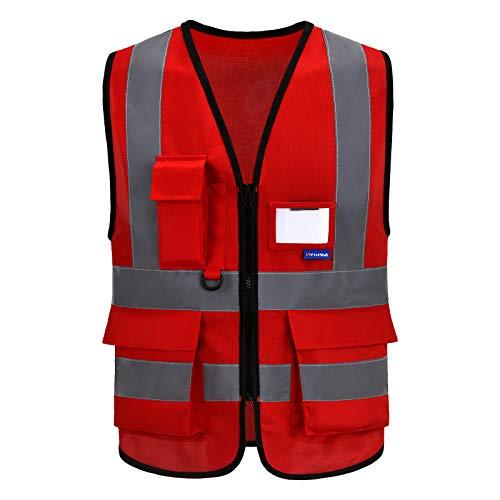 Mehrere Taschen,Mehrere Farben, Unisex hochsichtbare Warnweste Hohe Sichtbarkeit Warnweste Reflektierende Weste Reißverschluss EN ISO 20471 (M, Groß rot)
