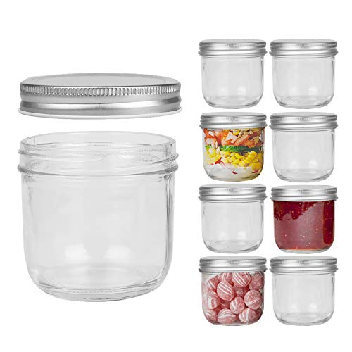 FRUITEAM 8 oz Wide Mouth Mason Jars with Silver Metal Airtight Lids -Set of 8, Transparent Glass Canning Jar Ideal for Jams, Jellies, Conserves, Preserves, Fruit Syrups, Chutneys, and more Pizza Sauce