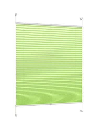 DecoProfi PLISSEE grün, verspannt, Breite 100cm x 130cm (max. Gesamthöhe Fensterflügel), mit Klemmträger/Klemmfix/ohne Bohren