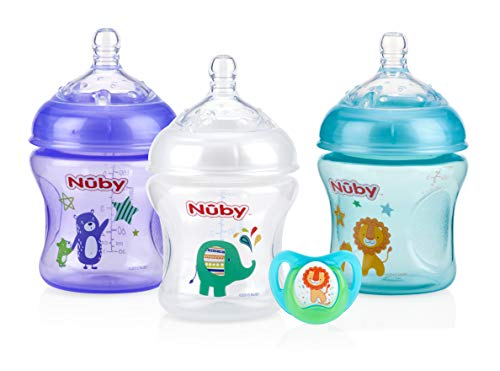 Nuby Natural Touch 3 Pack Bottles with Slow Flow Nipple & Bonus Ortho Pacifier- Neutral